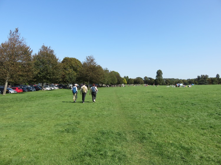 The open grassy area at the entrance to Blaise Castle Estate