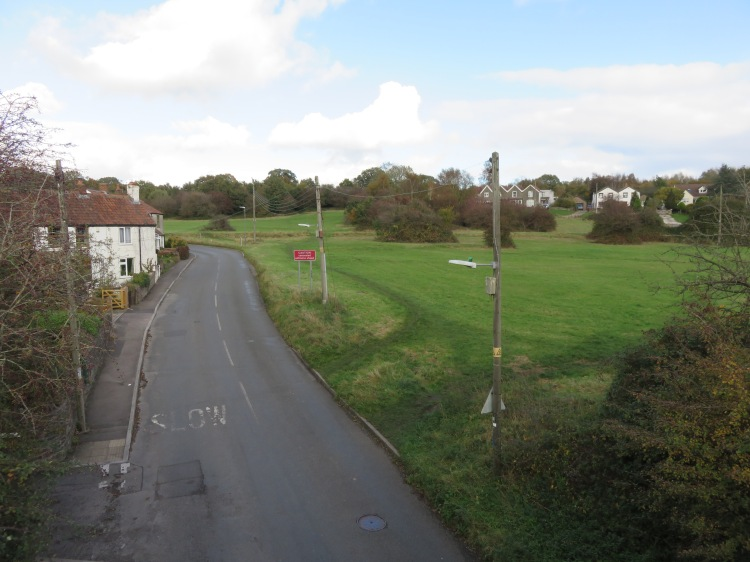The upper part of Siston Common from the Railway Path