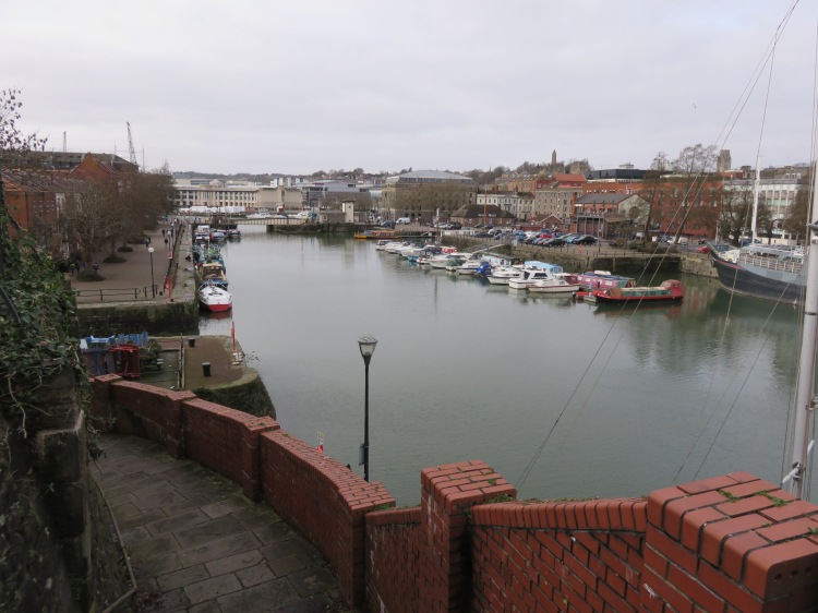 View down to the Floating Harbour from Redcliffe Parade